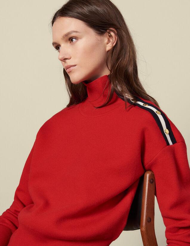 Pullover mit Stehkragen und Druckknöpfen : Pullover & Cardigans farbe Rot