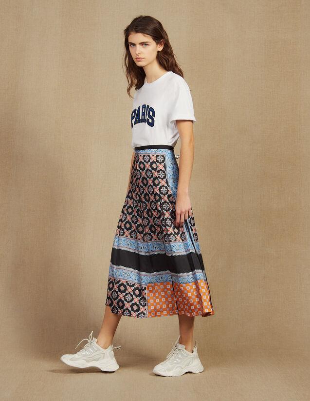 Langer Faltenrock Mit Print : Röcke & Shorts farbe Blau