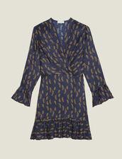 Kurzes Kleid Mit Print Und Volants : Kleider farbe Blau
