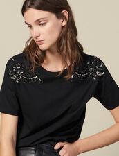 T-Shirt Mit Bestickten Schultern : T-shirts farbe Schwarz