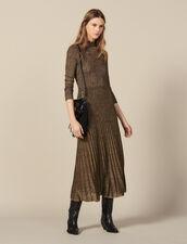 Langes Kleid aus Lurex-Strick : Kleider farbe Gold