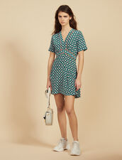 Kurzes Kleid Aus Seide Mit Print : Kleider farbe Grün