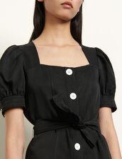 Kleid aus Leinenmischung zum Binden : Kleider farbe Schwarz