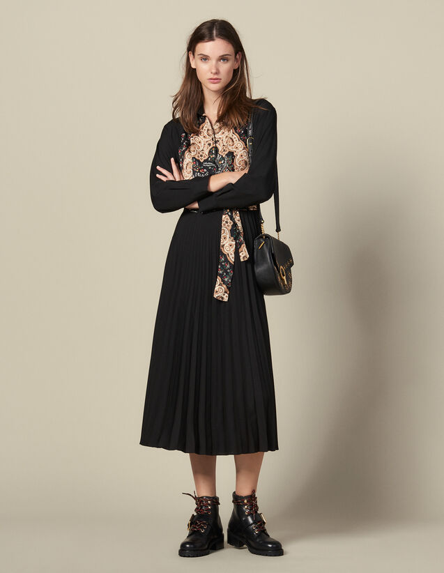 Langes Plissée-Kleid : Kleider farbe Schwarz