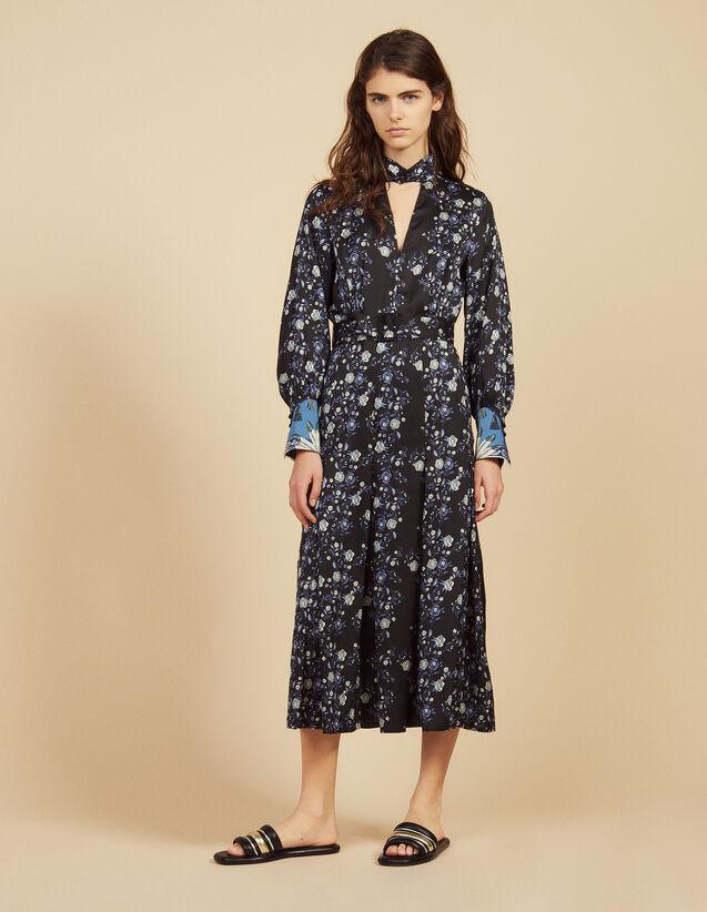 Midi-Kleid Mit Print-Mix Und Stehkragen : Bedruckte Kleider farbe Blau