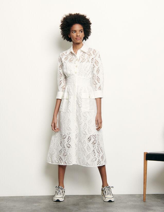 Langes Hemdkleid mit Stickerei : Kleider farbe Weiß