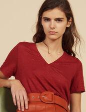 T-Shirt Aus Leinen Mit Kurzen Ärmeln : LastChance-FR-FSelection farbe Terrakotta