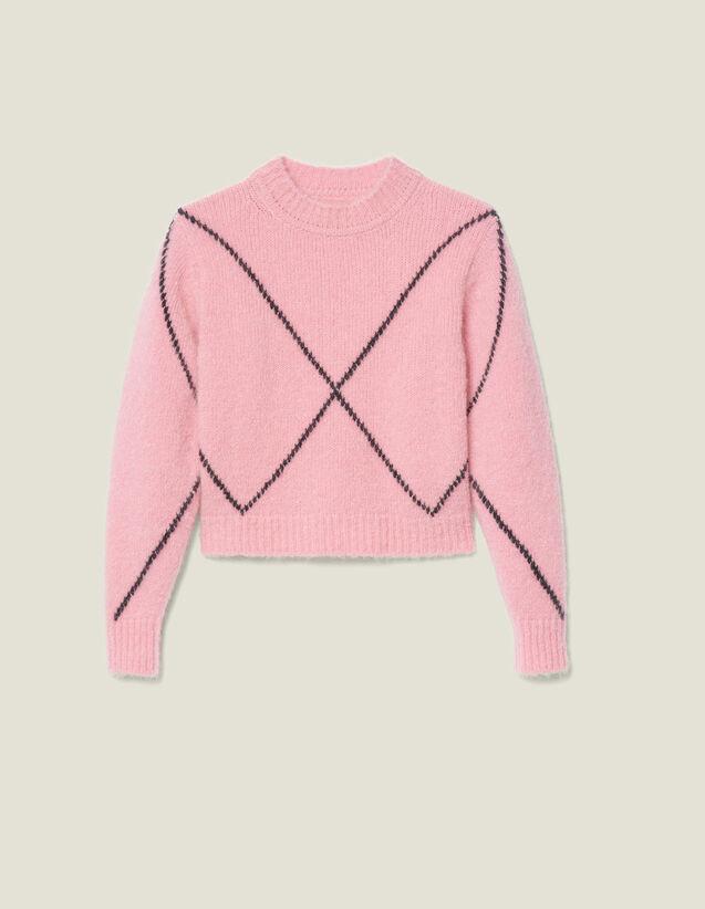 Jacquard-Pullover Mit Hairy-Effekt : Pullover & Cardigans farbe Rosa