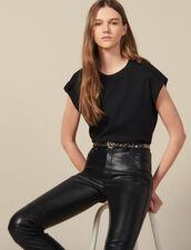 Weites T-Shirt mit Riegeln : T-shirts farbe Schwarz