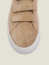 Sneaker aus Leder mit Klettverschluss : Schuhe farbe Sand