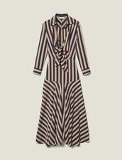 Langes gestreiftes Kleid : FBlackFriday-FR-FSelection-50 farbe Beige / Bleu