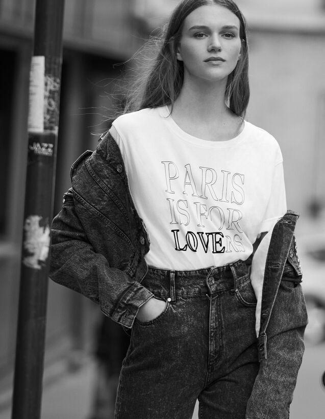 T-Shirt Aus Baumwolle Mit Schriftzug : T-shirts farbe Weiß