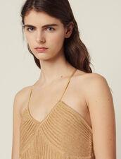 Langes Plissiertes Kleid Aus Lurexstrick : LastChance-FR-FSelection farbe Gold