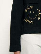 Hemdcardigan mit Smiley : Pullover & Cardigans farbe Schwarz