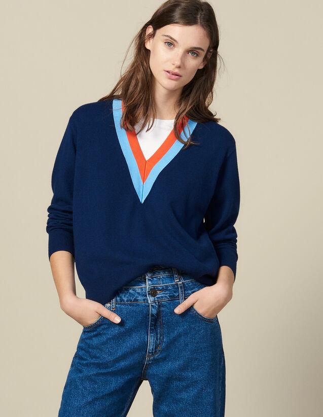 Strickpullover mit zweifarbiger Borte : Pullover & Cardigans farbe Marine
