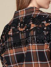 Kariertes Hemd Mit Western-Stickereien : Tops & Hemden farbe Camel/noir