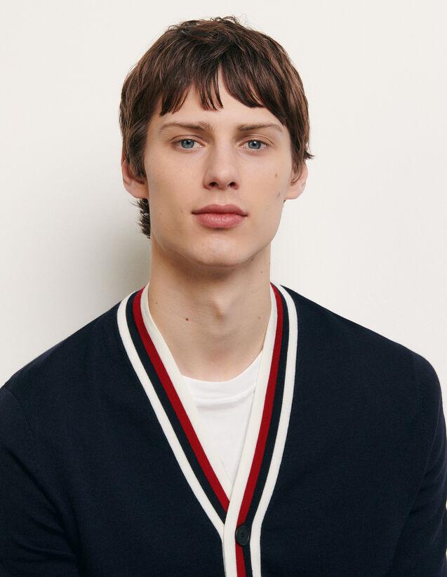 Cardigan mit dreifarbigen Rippungen : Pullovers & Cardigans farbe Marine
