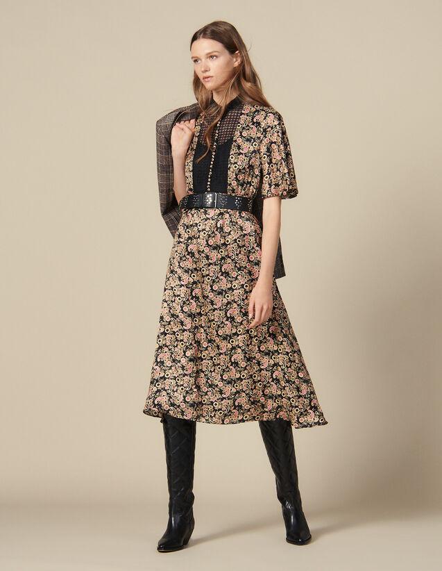 Midi Kleid Mit Allover Print : Kleider farbe Schwarz