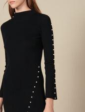 Langes Strickkleid mit Perlenverzierung : LastChance-ES-F40 farbe Schwarz