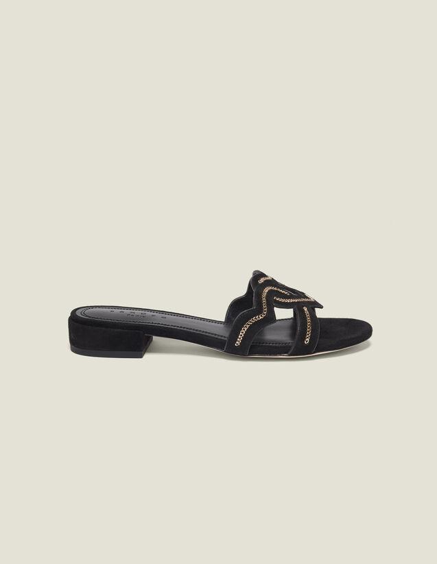 Herz-Sandalen Aus Veloursziegenleder : Schuhe farbe Schwarz