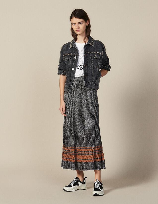 Midirock Aus Lurex-Strick : Röcke & Shorts farbe Silber