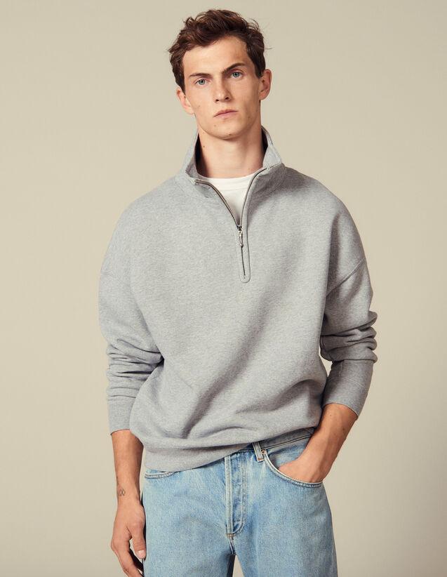 Sweatshirt mit Stehkragen : Sweatshirts farbe Grau Meliert