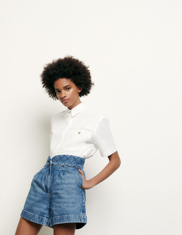 Shorts mit gestepptem Taillenbund : Röcke & Shorts farbe Blue Vintage - Denim