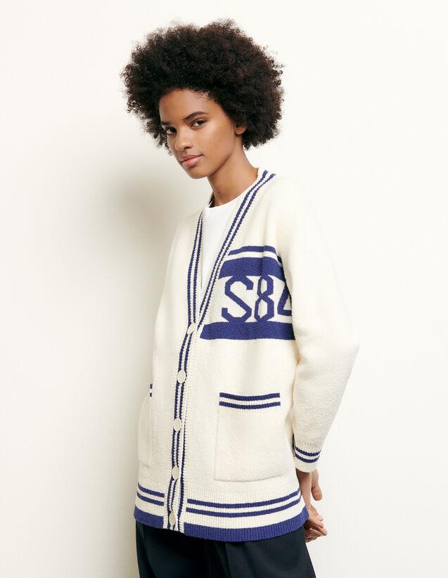 Oversize-Cardigan mit Streifen : Pullover & Cardigans farbe Ecru