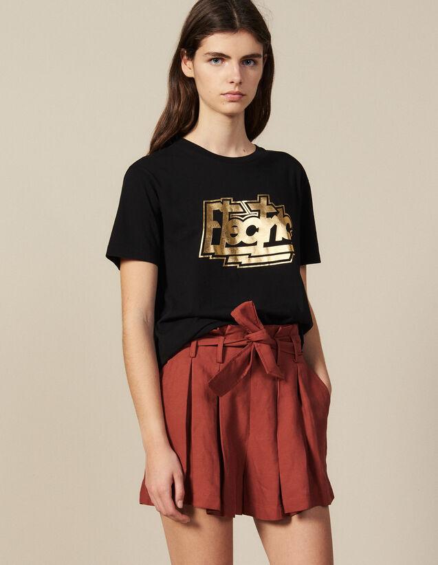 Baumwoll-T-Shirt Mit Schriftzug : New In farbe Schwarz