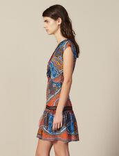 Kurzes Kleid Mit Print Und Volants : null farbe Bunt