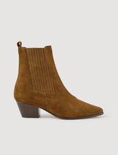 Stiefel aus Leder mit Gummieinsatz : Schuhe farbe Khaki