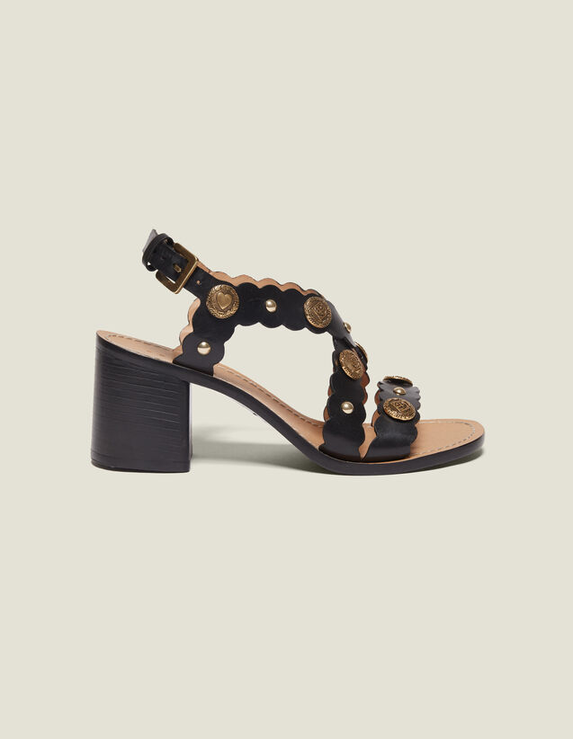 Sandalen Mit Absatz Und Nietendetails : Schuhe farbe Schwarz