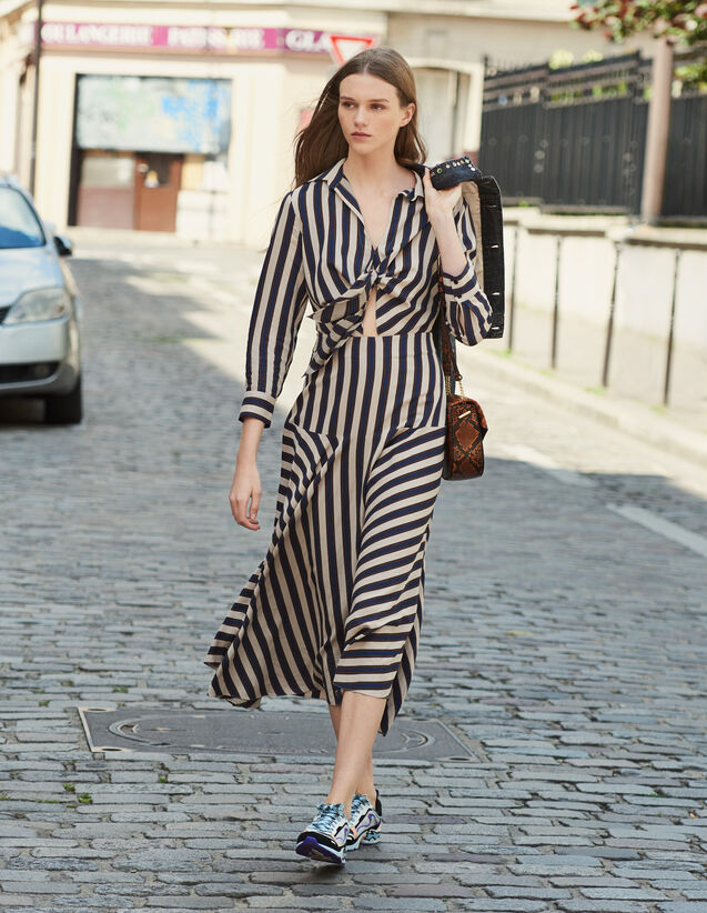 Langes Gestreiftes Kleid : Alle Konfektionskleidung farbe Beige / Bleu