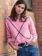 Jacquard-Pullover mit Hairy-Effekt : Pullover & Cardigans farbe Rosa