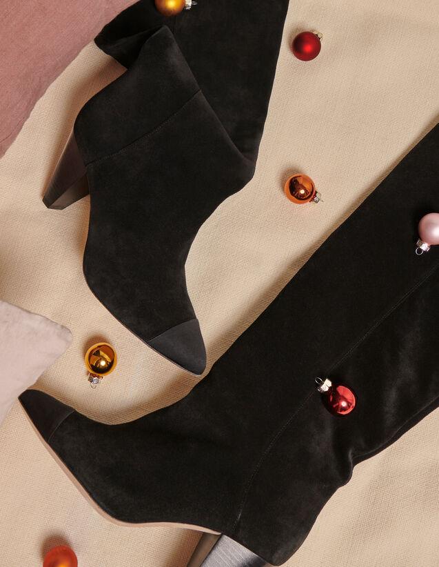 Lederstiefel mit spitzer Zehenpartie : Schuhe farbe Schwarz