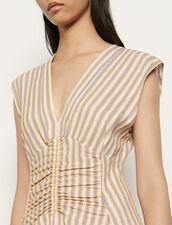 Langes Kleid mit verspielten Streifen : Kleider farbe Rose / Jaune