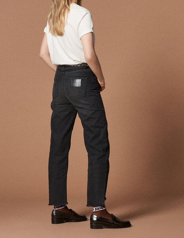 Jeans mit hohem Bund und geradem Schnitt : Jede Auswahl farbe Schwarz