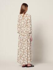 Langes, Fließendes Kleid : null farbe Ecru