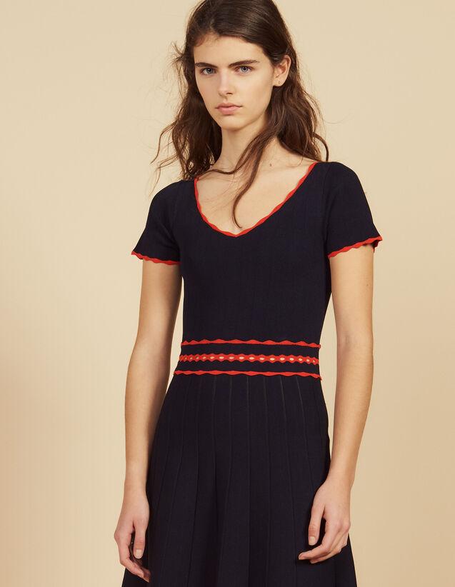 Kurzes Plissiertes Strickkleid : Kleider farbe Marine