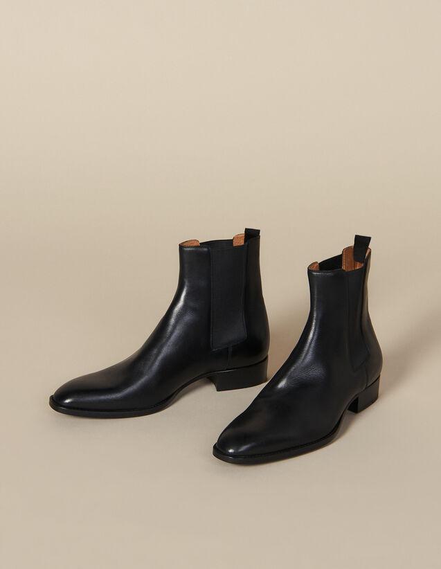 Chelsea-Schuhe Aus Glattleder : Winterkollektion farbe Schwarz