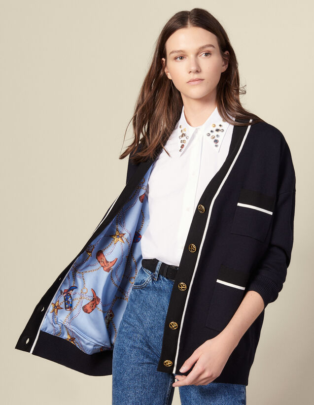 Cardi-Coat mit bedrucktem Innenfutter : Pullover & Cardigans farbe Marine