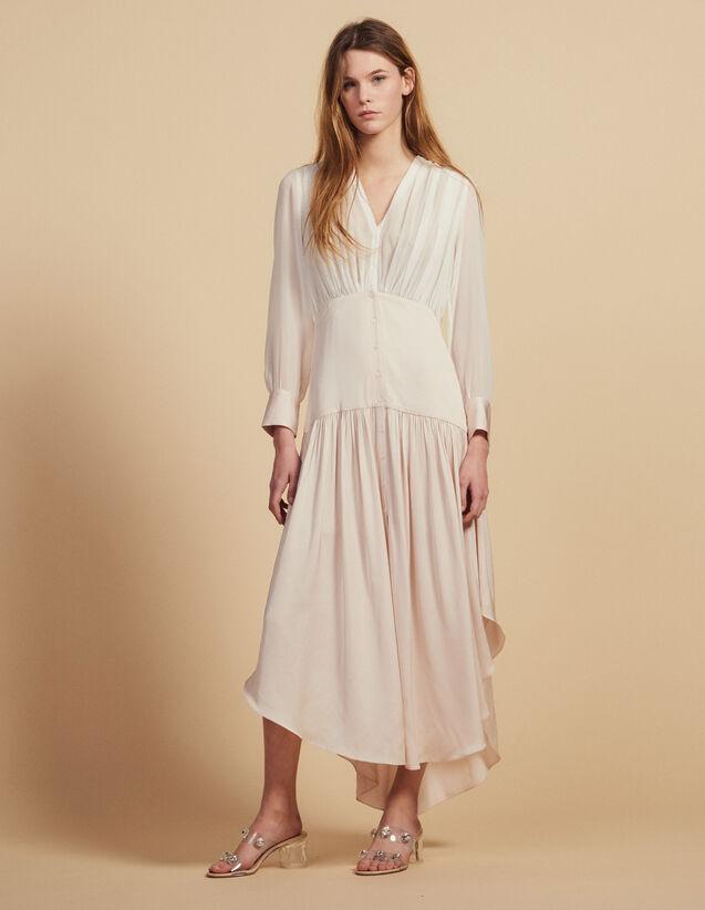 Langes Asymmetrisches Kleid, Materialmix : Kleider farbe Blassrosa