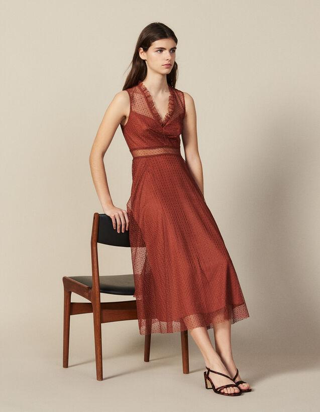 Langes Kleid Aus Besticktem Tüll : Kleider farbe Rost