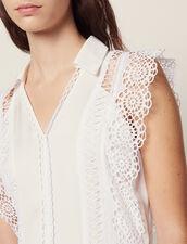 Midi-Kleid Mit Spitzenborten-Verzierung : null farbe Ecru