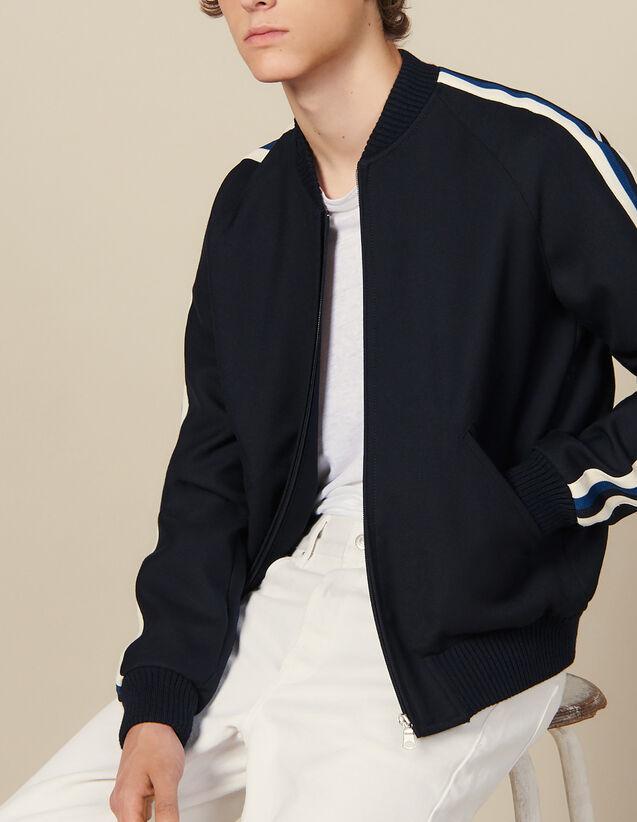 Teddyjacke mit Streifenborten : Blousons & Jacken farbe Marine