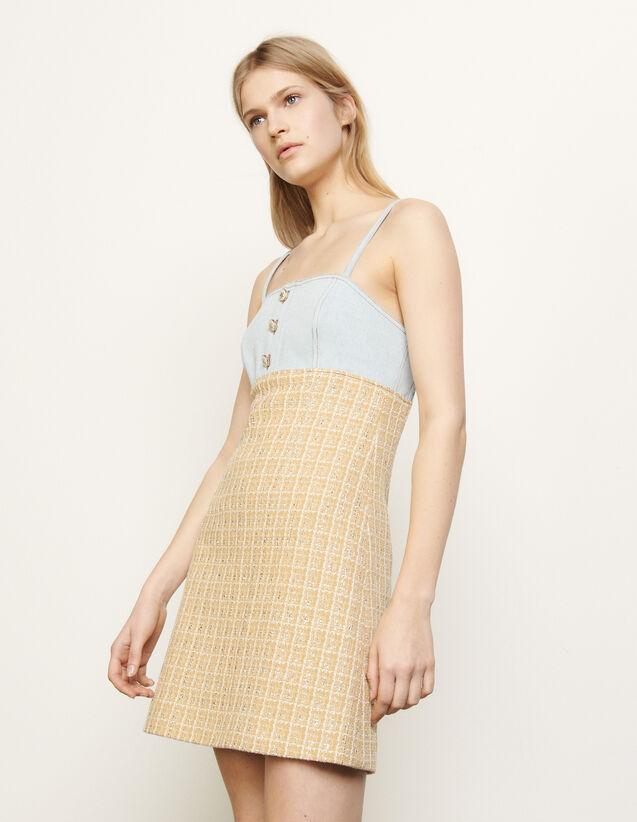 Kleid mit Spaghetti-Trägern aus Tweed : Kleider farbe Beige