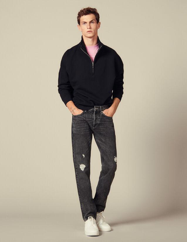 Verwaschene Slim-Jeans Ohne Stretch : Jeans farbe Black - Denim