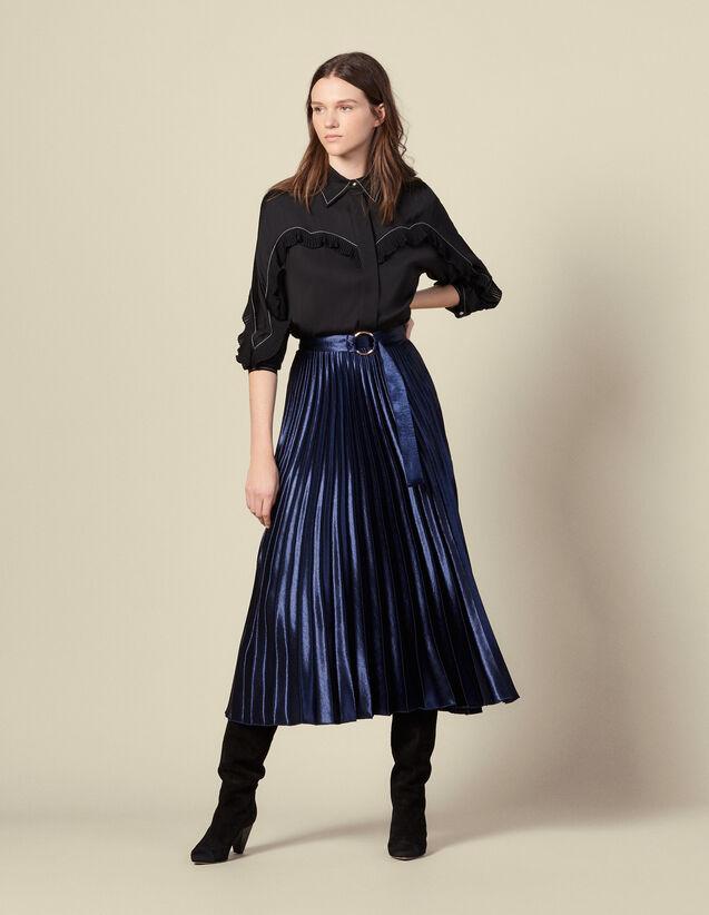 Langer Satinrock mit Sonnenplissee : Röcke & Shorts farbe Navy
