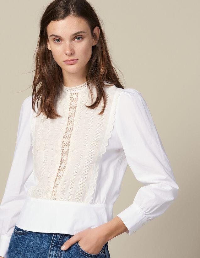 Top Mit Spitzenplastron : Tops & Hemden farbe Weiß