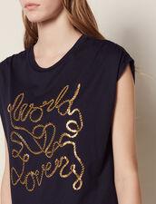 T-Shirt Aus Baumwolle Mit Schriftzug : null farbe Marine